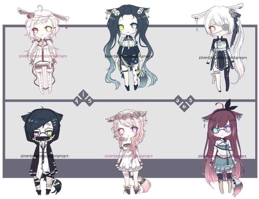 [CLOSED] Bows and ties adopts by silverblossoms