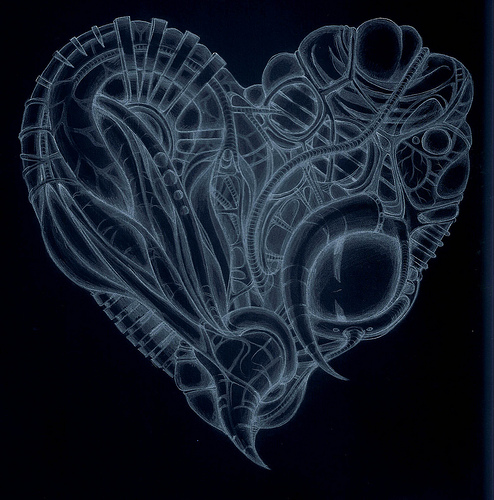 x-ray cyberpunk heart by inkzoo