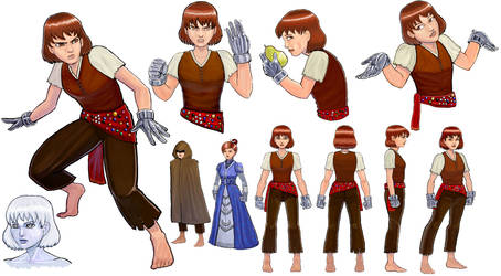 The Girl with Silver Hands Character Design Sheet