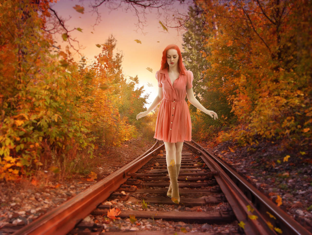 Girl on Railway Track by Rshant