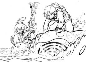 Pokemon Use Surf - Lineart by e1n