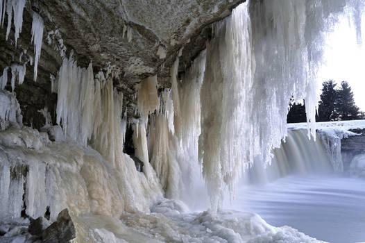under the Jagala falls