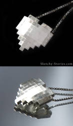 8-Bit Heart Pendant by Sketchy-Stories