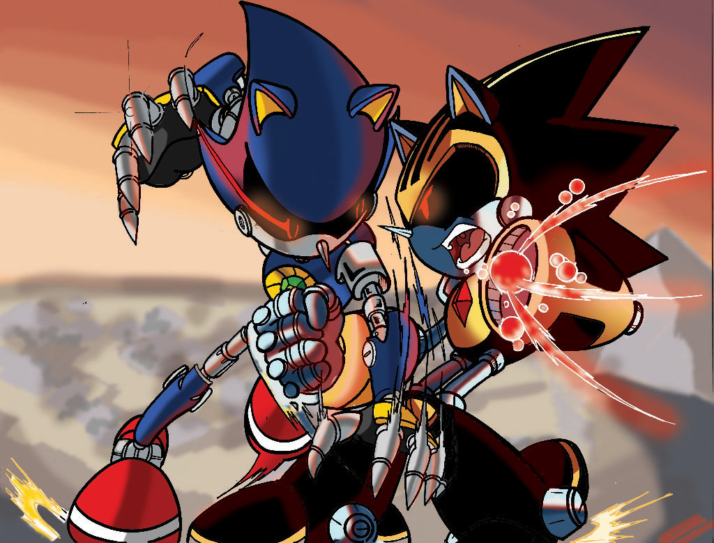 Metal Sonic Vs Shard (Coloured Version) by leonarstist06