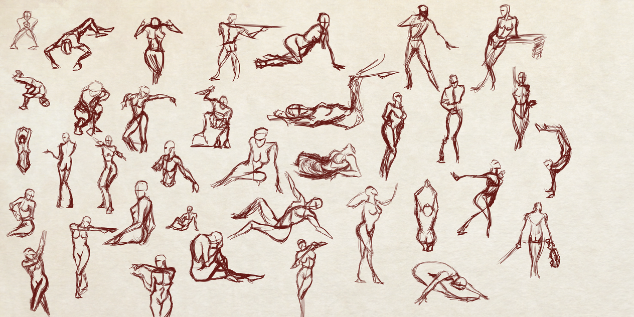 Bunch of 1 min and 2 mins Quick Poses by Dex91