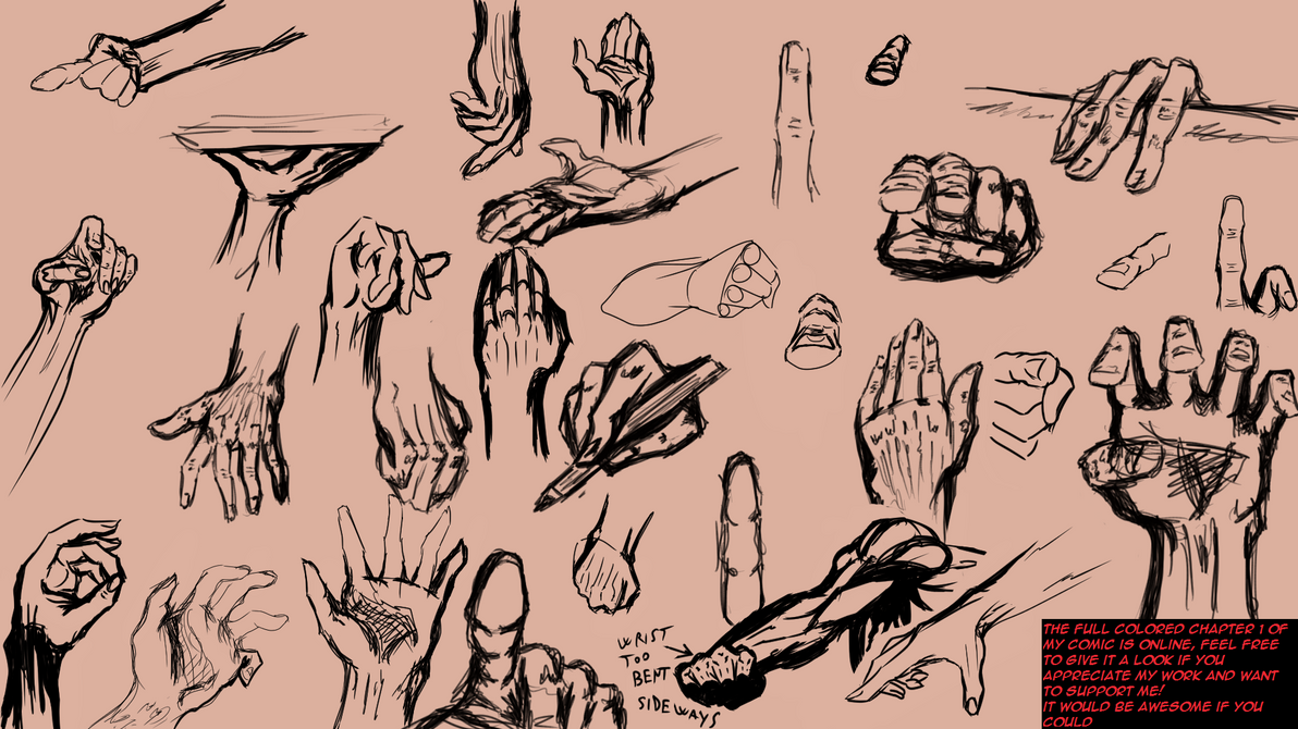 Bunch of 1 min Hands sketches and poses by Dex91