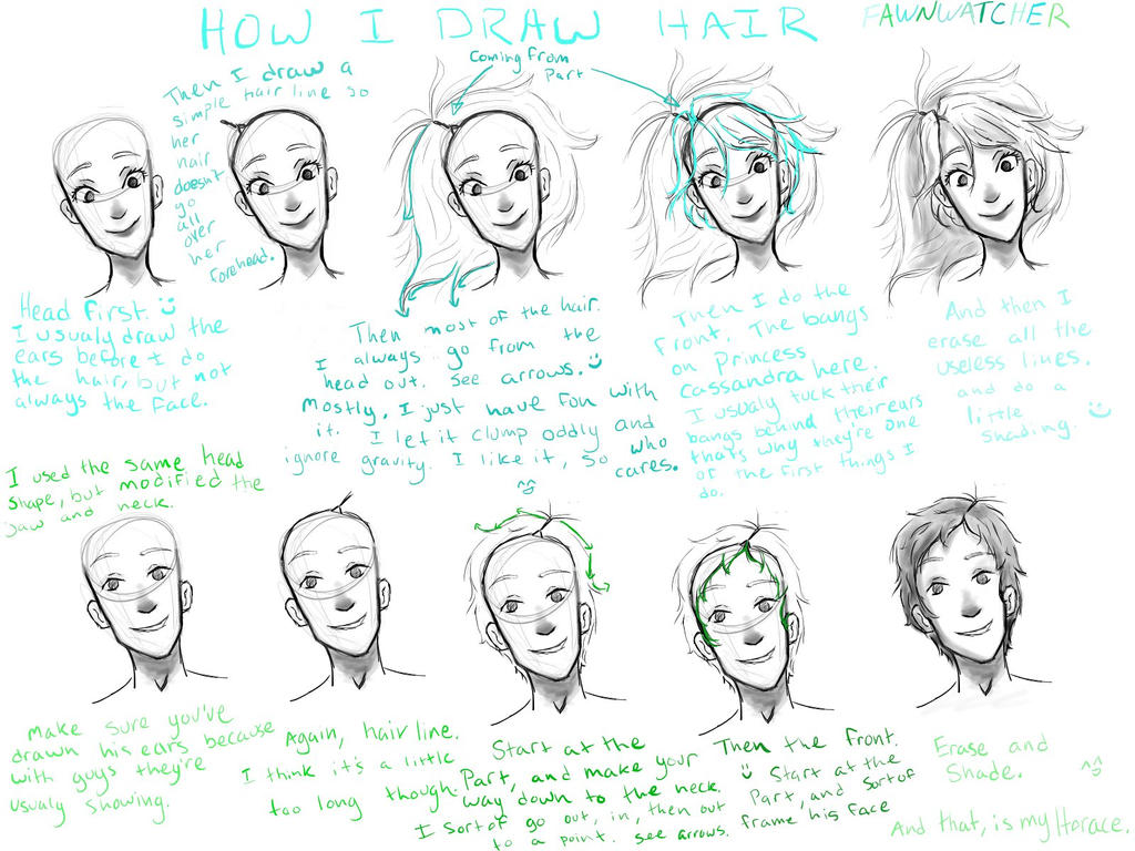how i draw hair by fawnwatcher on deviantart
