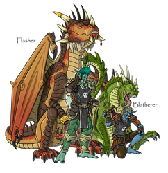 Flasher and Blatherer by mythori