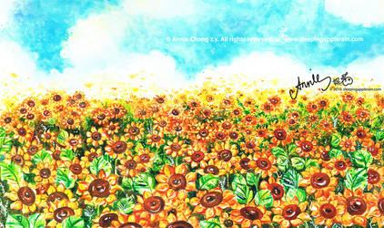 Sunflower Field by applerain