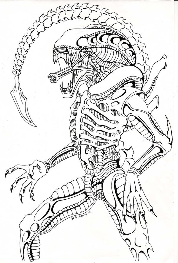Line Drawing Vs Mass Drawing : Xenomorph comission by nathaldron on deviantart