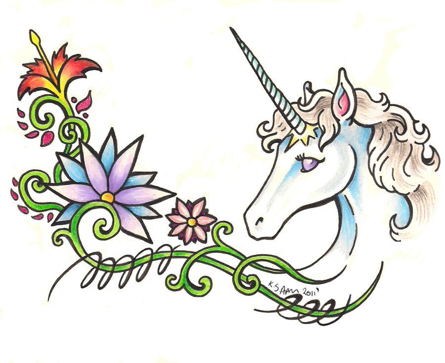 Unicorn tattoo by nathaldron on deviantart for Small cartoon tattoo designs