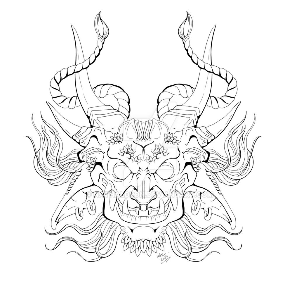 Goat oni linework by nathaldron on deviantart for Kabuki mask template