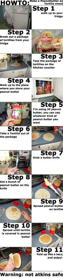 Peanut butter on Tortilla