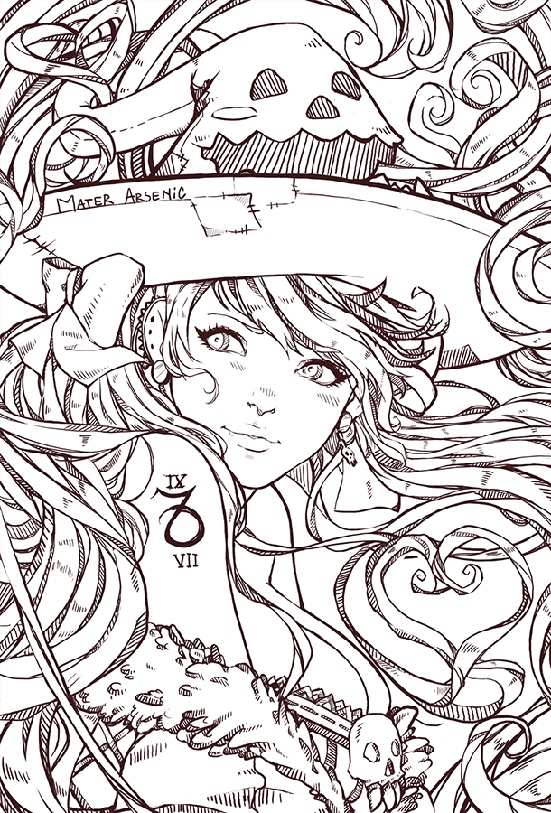 My witch - Lineart by MaterArsenic