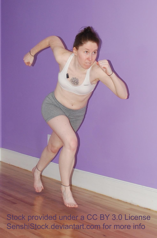 Runner Woman Kneeling Tying Shoe Lace
