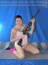 Kneeling Figure Model Woman Pose Reference Gun by SenshiStock