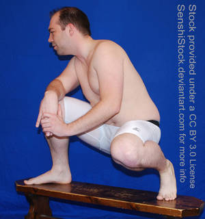 Crouching Pose Reference Figure Model Male
