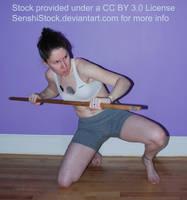Model Kneeling Staff Stabby Pose Reference by SenshiStock