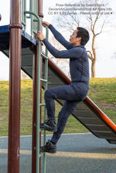 Man Climbing a Ladder Pose Reference for Art