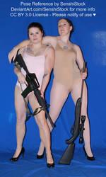 Pair Pose Reference Gun Women Arms Around Shoulder by SenshiStock