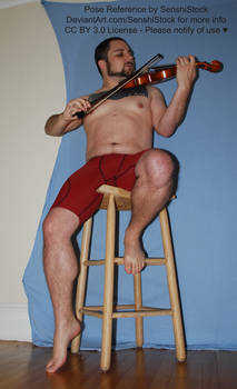 Tuxedo Dave Playing Violin from Low Perspective