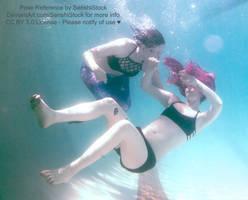 Mermaid Rescue Saving Underwater Drowning Pose Ref