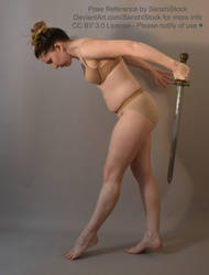 Dynamic Profile Side Action Sword Bowing Pose