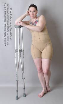 Leaning On Crutches Injured Leg Hurt Pose