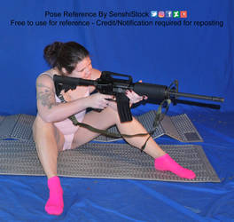Rifle Pose Reference Sitting Aiming Waiting Pose by AdorkaStock