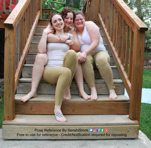 Trio Three People Friends Sit Together Steps