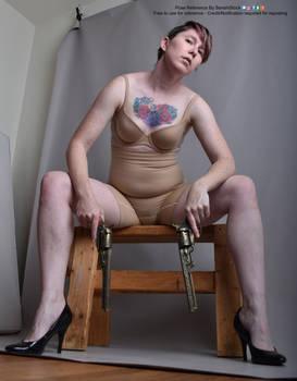 Sitting Pose Reference Dual Gun Perspective Heels