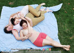 Trio Three Polyam Snuggle Cuddle Sleeping Hugs by AdorkaStock