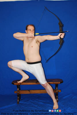 Male Archer Pose One Leg Stepping Up Looking Back