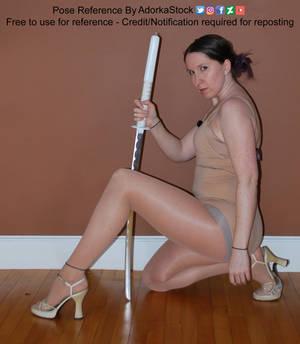 Kneeling Katana High Heel Pin Up Pose Reference