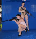 Gun Girls Pose Reference High Heels by AdorkaStock