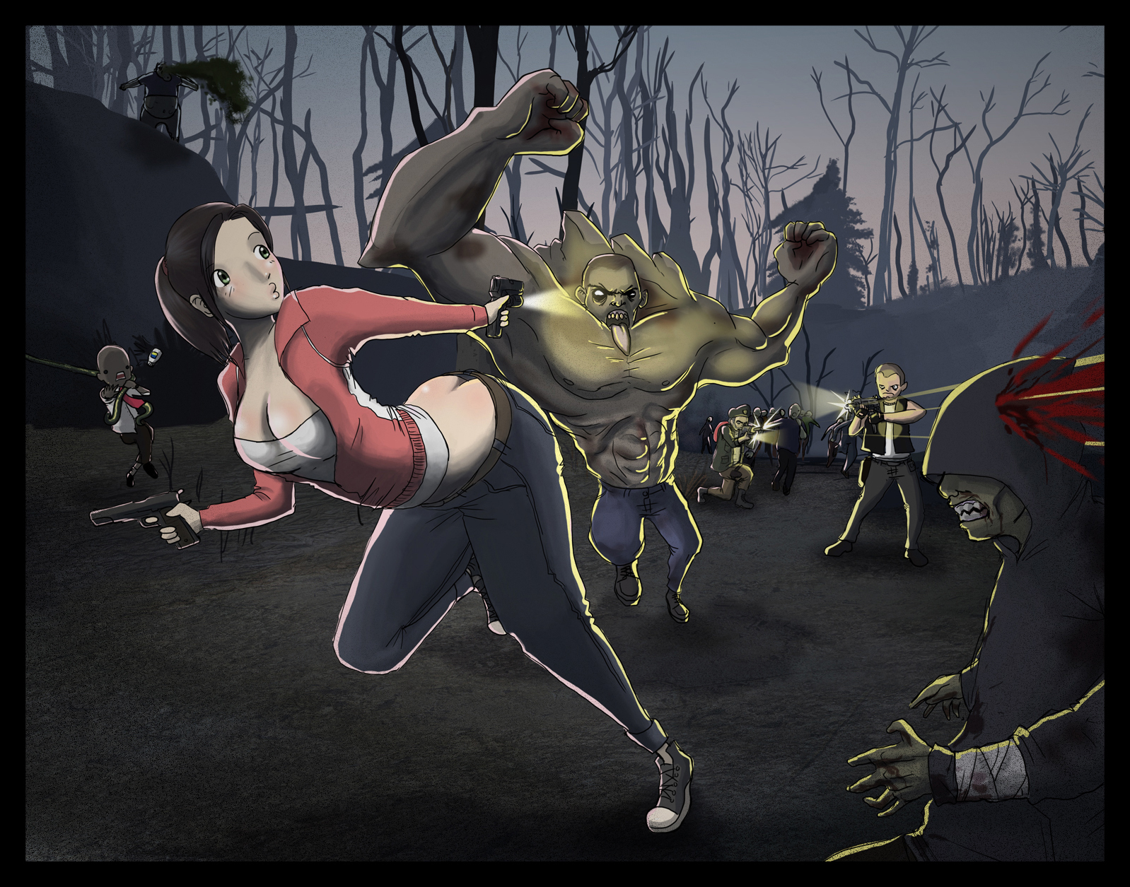 Papeis de parede Left 4 Dead Zoey_and_the_gang_by_pinkbandit1