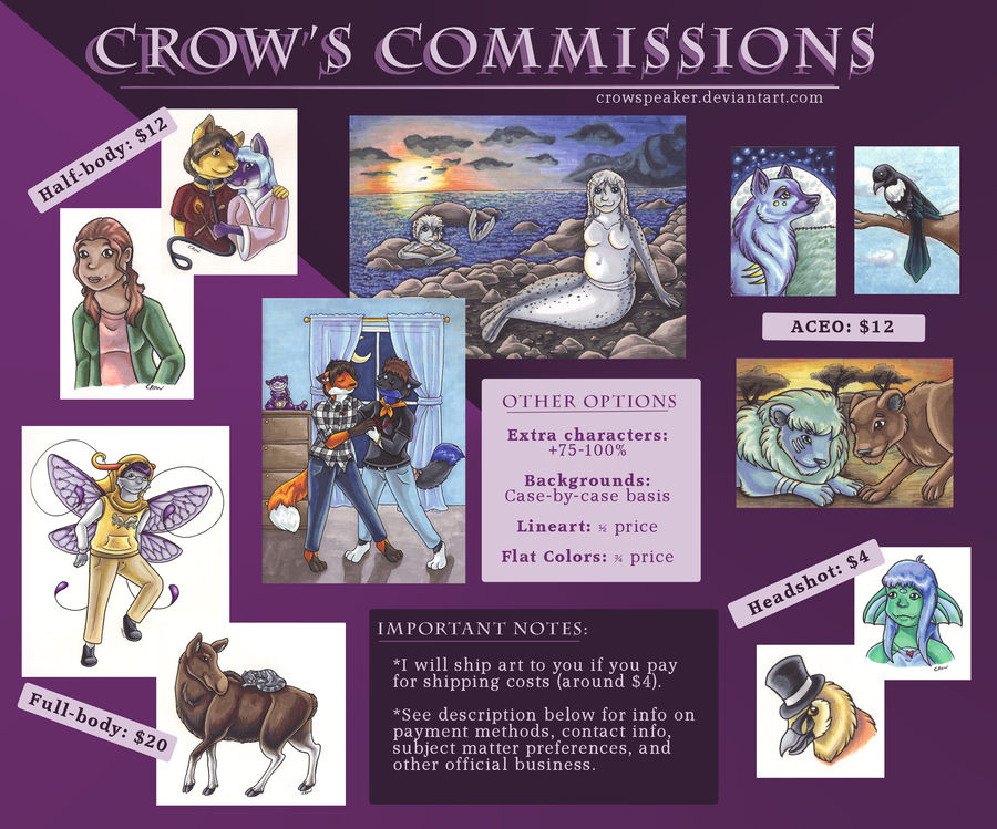 Commissions: CLOSED by Crowspeaker