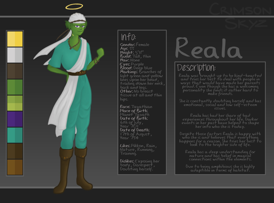 Reala Character Sheet by iLozzie
