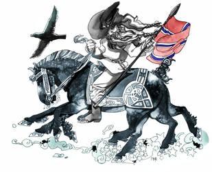 Odin and Sleiphnir by Morag-I