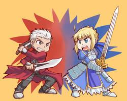 Saber and Archer by yuemaru