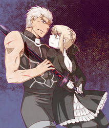 Saber Alter and Archer by yuemaru