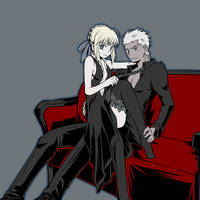 Black, Saber and Archer by yuemaru