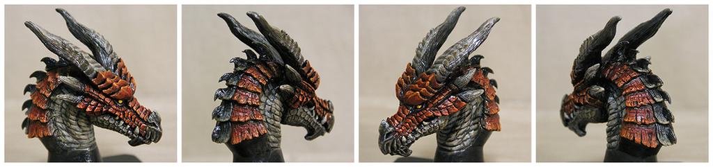 Dragon Head Sculpture Crimson by Tyvik