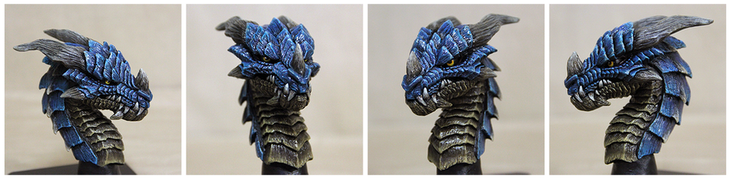 Dragon Head Sculpture Azure by Tyvik