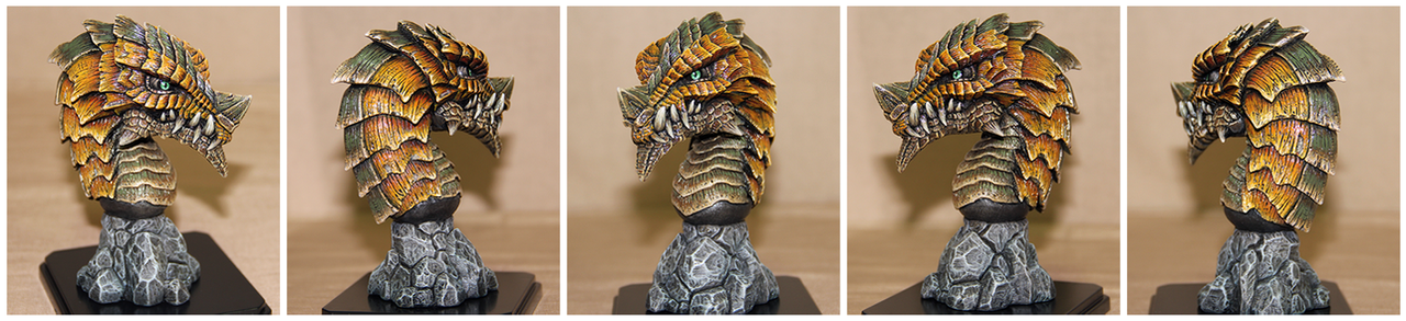 Dragon Head Sculpture Ochre by Tyvik