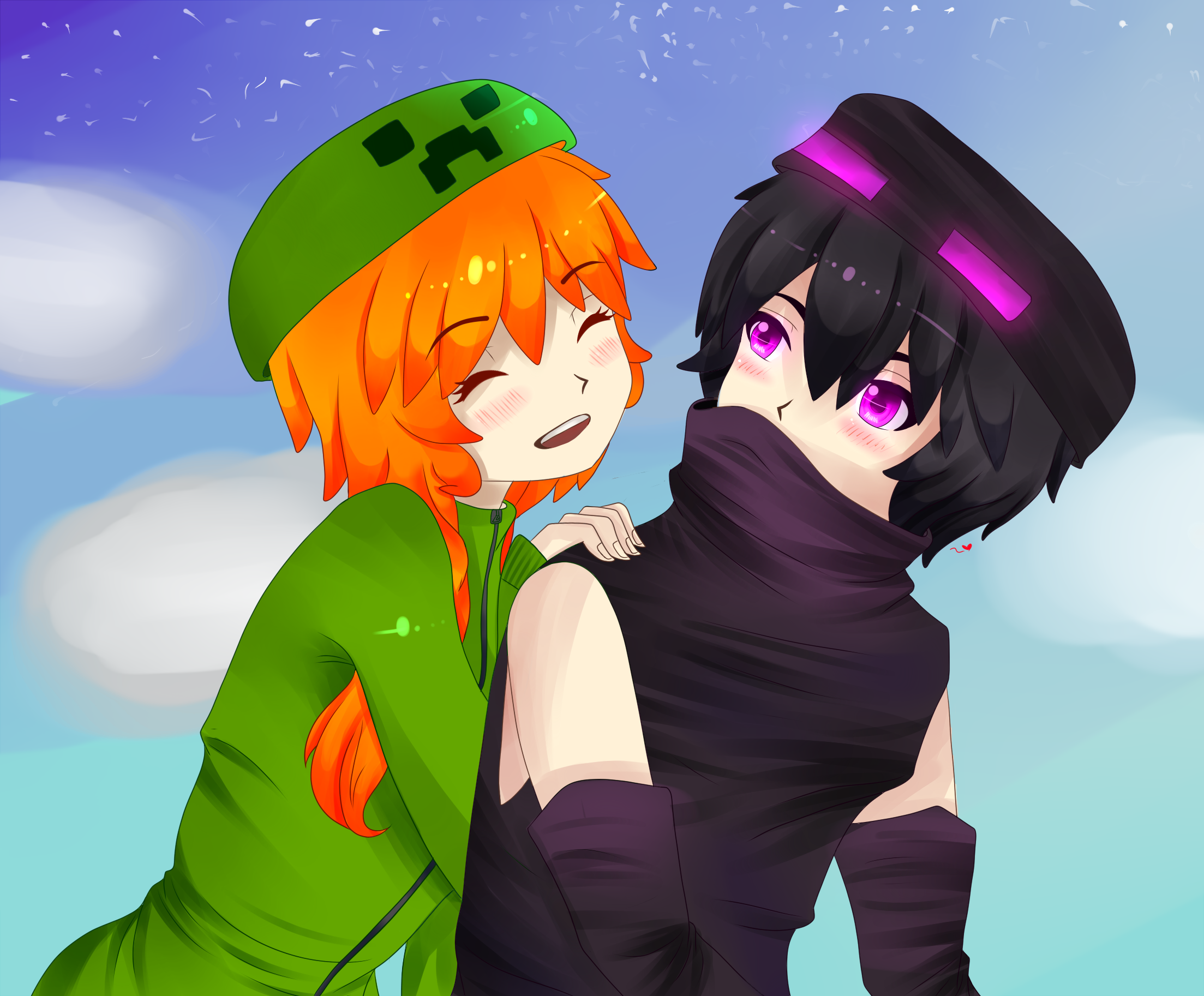 Hey why are you alone creeper girl and enderman by - Creeper anime girl ...
