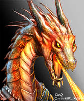 Fierce Fire Breathing Dragon Bust by maugryph