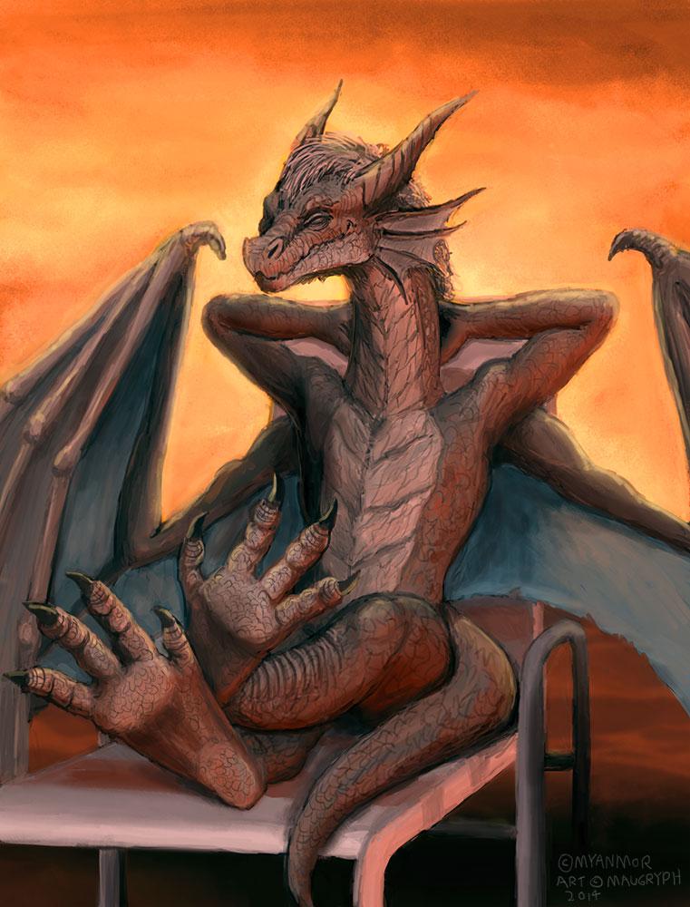 Dragon Basking in the Sun (Comissão) por maugryph