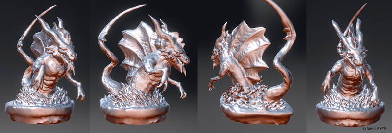 Water Dragon 3d Sculpture