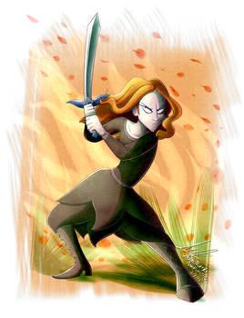Antonia posando con la espada